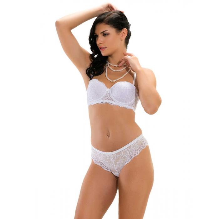 Damen Unterwäsche BH-Set-Slip mit Stütze Weiß MB12200