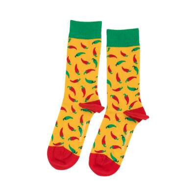 Yellow Hot Chili Pepper Sock Unisex Men Women Socks 1 or 3 pairs