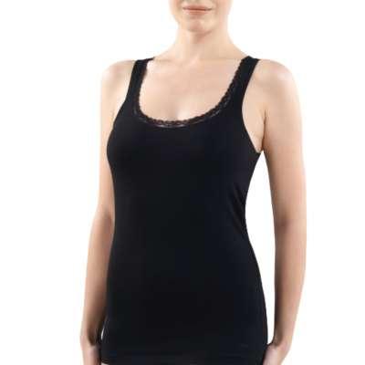 Blackspade 1364 Damen Comfort Elegance Unterhemd Weiß Schwarz Cotton Baumwolle Modal Elesthan S-M-L-XL