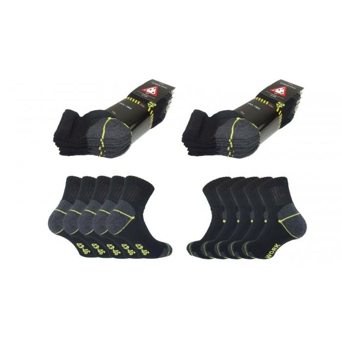 Worker Quarter Arbeitssocken Schwarz Herren Komfort Socken Baumwollmischung 10 | 20 | 30 Paar