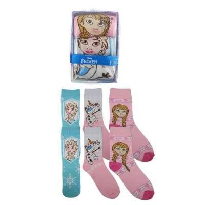 Kinder Giftbox 3er Pack Disney Frozen Motive  Mädchen Comic Lustige Socken