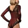 DOREANSE Spitzenbody Damenbody Tribal Tüllbody V-Ausschnitt Lace Bodysuit Schwarz-Rot 12443-374