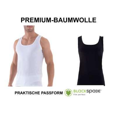 Blackspade Business Unterhemd Herren weiß schwarz Tank Top atmungsaktive Premium Baumwolle 9504