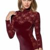 Doreanse Damenbody Spitzenbody Tüllbody Floral Spitze Bodysuit Lace 12444-375