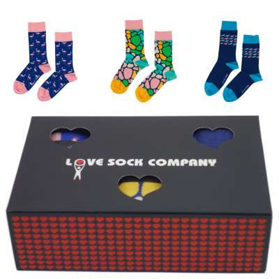 Love Sock Sets Geschenkbox Socks Flamingo Giraffe School of Fisch